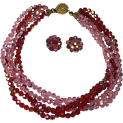 Six Strand Red & Pink Aurora Borealis Crystal Bead Necklace & Earrings