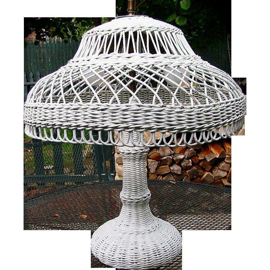 Beautiful White Wicker Table Lamp Sold Ruby Lane