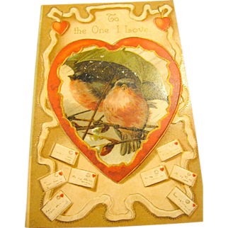 Darling Embossed Bird Valentine Postcard