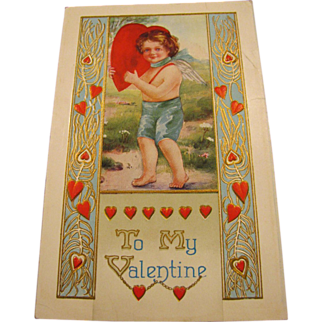 Embossed Angel Boy Valentine Postcard Whitney