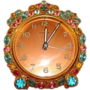 "Exquisite ""Original by Robert"" Rhinestones ~ Filigree ~ Alarm Clock ~ Cyma ~ Swiss Made ~"