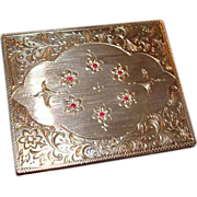 Vintage Italian Sterling Silver Highly Adorned Powder and Lipstick Compact Set ~ Genuine Red Rubies ~ Gorgeous Treasure!