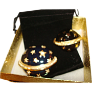 Estee Lauder Deep Blue Enamel and Crystal Solid Perfume Compact ~  Also has a Pin that Closely Matches the Starry Night Compact ~ A Beautiful Pair of Treasures!