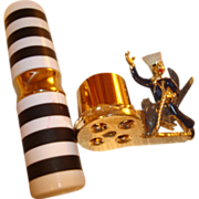 """Vintage """"Anchors Away"""" Nautical Theme Lipstick Holder with Lipstick ~ A Jaunty Sailor is Riding  Atop a Large Fish on the Side of the Lipstick Holder with Matching Lipstick ~ An Adorable Piece!"""