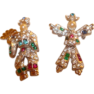 Two Balinese Ceremonial Costumed Pair of Dancers ~ Small Moveable Scatter Pins ~ Adorned in Rhinestones ~ An Adorable Pair!