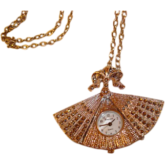 Delicate Fan Shaped Watch Pendant Adorned with Marcasite Stones ~ A Lovely Little Beauty!
