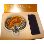 """Vintage Estee Lauder Crystal and Enamel """"Dancing Dolphins"""" Powder Compact ~ A  Playful Pair!"""