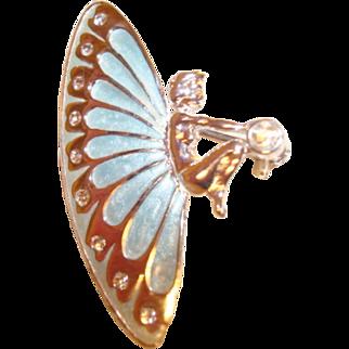 Vintage Silvertone Enamel Butterfly Wings Fairy Brooch/Pin ~ a Lovely Treasure!