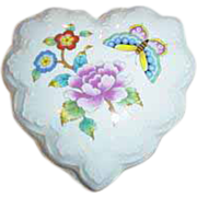 ~Estee Lauder Chinoiserie Porcelain Collection Heart Shaped Trinket Box~