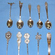 Set of 10 vintage sterling silver souvenir spoons