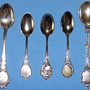 5 misc Silver Souvenir spoons