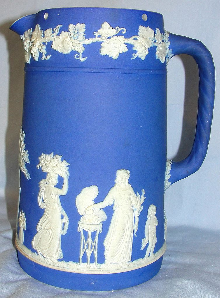 Vintage English Wedgwood ceramic dark blue Jasperware pitcher