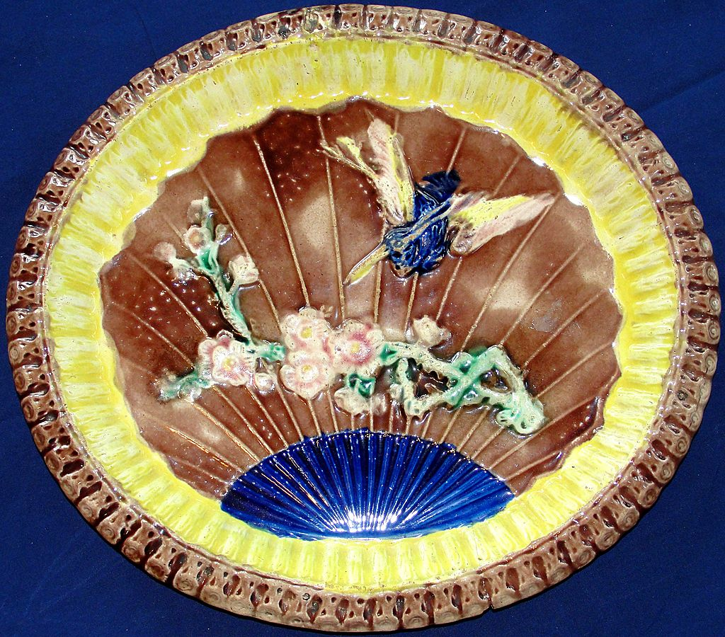 Antique Majolica Warble Bird and Fan Platter