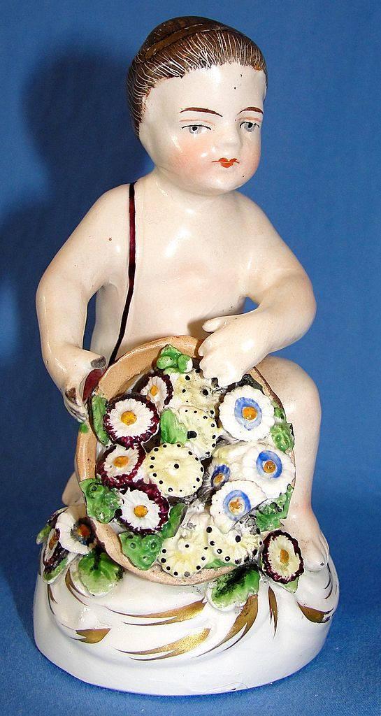 Antique Staffordshire Pottery Figurine - Boy with Flowers Looks like Meissen
