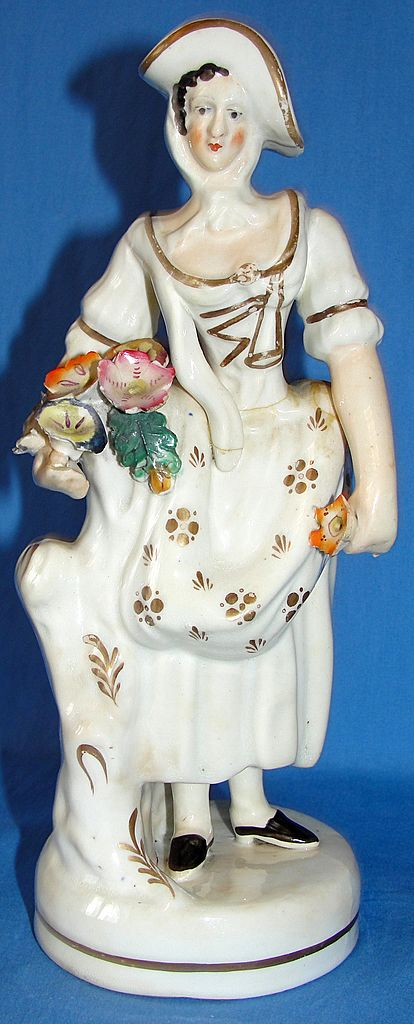 Antique Staffordshire pottery figurine -  Woman with Flowers - As Is