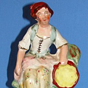 Antique Staffordshire pottery figurine -  Woman with tambourine