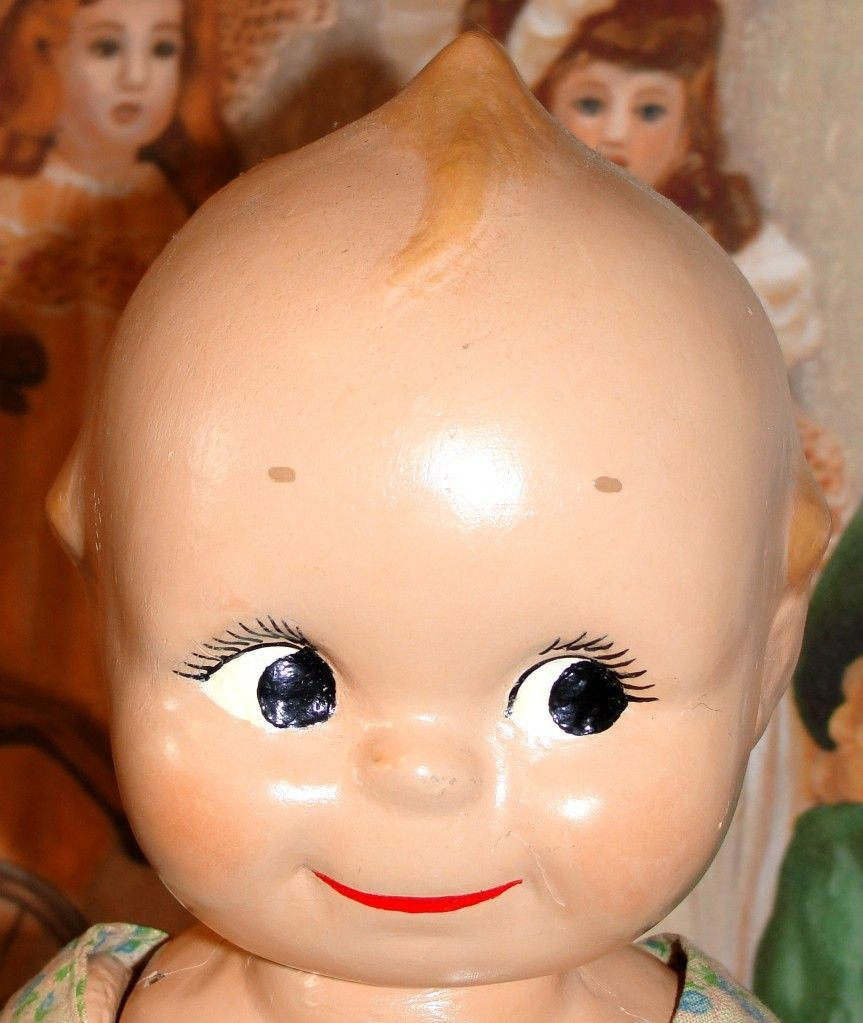 Adorable 1930's Composition Kewpie doll  - cute sunsuit!