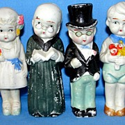 1930's All Bisque Japanese 6 Piece Wedding Party Set - complete with minister!