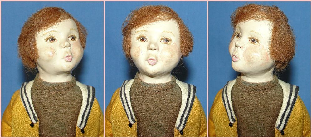 Whistling boy cloth signed Mary Ann Oldenburg Artist doll