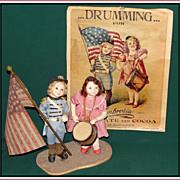 Sweet pr of Patriotic Mary Ann Oldenburg Artist Dolls - Red Tag Sale Item