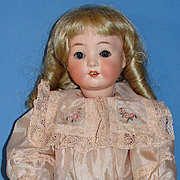 Antique Heubach Koppelsdorf Bisque Doll Mold # 320 - Pretty in Pink Silk!