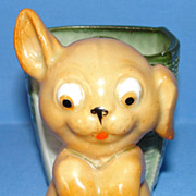 Antique Fairing: Googly-eye Puppy & Basket
