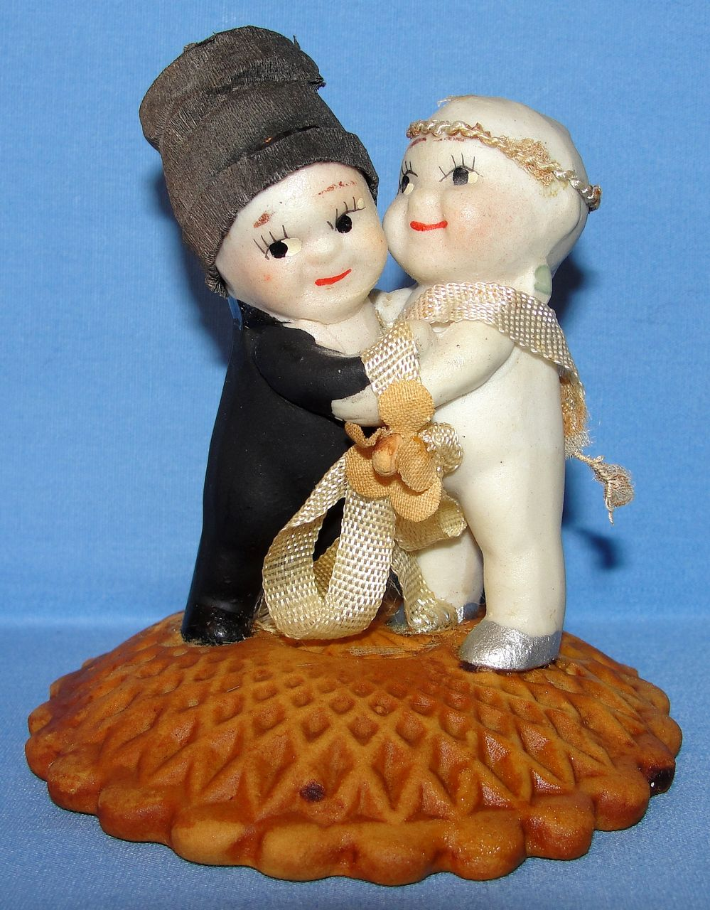 All Bisque Old Kewpie Huggers Bride & Groom Cake Topper
