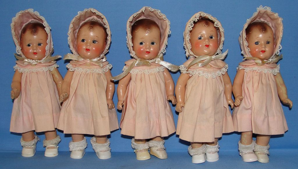 1930's Composition Dionne Quintuplet Dolls, Probably Effanbee