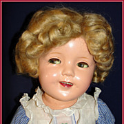 "25"" Flirty eyed Shirley Temple Doll in Original Embroidered-Cherry Dress ca 1936"