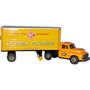 1950's Tin Toy Lithographed Semi Truck with Trailer: ABC Freight Forwarding - Good condition