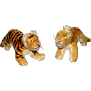 Vintage 1950's Steiff Tiger and Lion Cubs