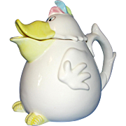 Fitz and Floyd Vintage Duck Or Dodo Bird Ceramic Teapot - Amusing!