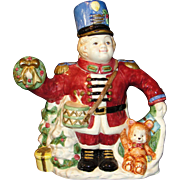 Vintage Large Fitz and Floyd Teapot: Christmas Nutcracker