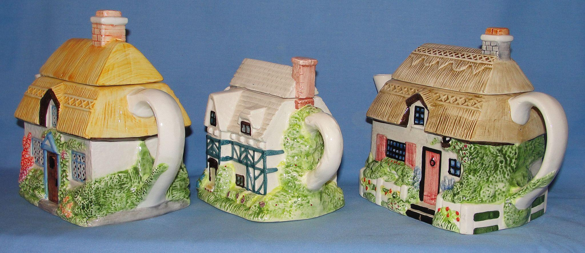 Vintage country cottage house teapots country charm from