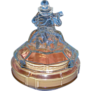 Art Deco Vanity Glass Powder Jar: ca 1930's Minstrel, E.L. Smith Glass Company