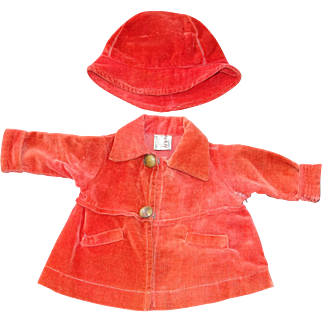 """All Original 1930's Tagged  Coat & Hat for 18"""" Composition Shirley Temple Doll"""