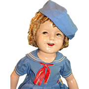 "27"" Flirty-Eye Shirley Temple 1930's Doll in Tagged Costume"