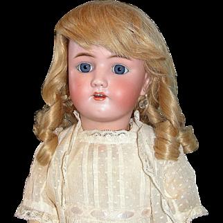 """Lovely 24"""" Heinrich Handwerck  Bisque Doll In stunning Original Dotted Swiss Dress"""