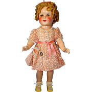 "All Original 18"" Composition Shirley Temple Make-up Doll in RARE Mint Dove Dress in Original Box"