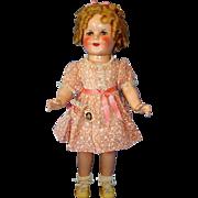 "All Original 18"" Composition Shirley Temple Make-up Doll in RARE Mint Dove Dress in Original Box"