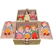 Extraordinary All Original 1938 Knickerbocker Composition Walt Disney Snow White and the 7 Dwarfs in their Original Carrying Case!