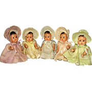 Adorable 1930's American composition Dionne Quintuplet Dolls