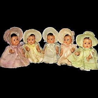 Adorable 1930's American composition Dionne Quintuplet Dolls