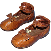 Phenomenal Antique Toddler Shoes by F.R. Kirkendall - Fine Quality Leather! Adorble Bows and Ankle Straps!