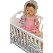 "Darling 1950""s American Character 15"" Tiny Tears Baby Doll in Original Cradle, Sleeping Bunting, Rattle and Bubble Pipe - SWEET!"