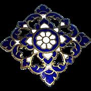 Gorgeous Vintage Siam Blue & White Enameled Brooch in Original Thai Jewelers box -  MINT!