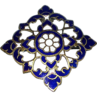 Gorgeous Vintage Siam Blue & White Enameled Brooch in Original Thai Jewelers box -  MINT!