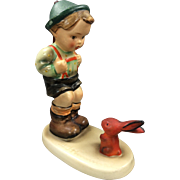 "Old Hummel figurine: FULL BEE Sensitive Hunter 4-3/4"" w/ Orange Bunny (6/0, TMK 2)"