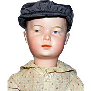 "Rare 13"" Antique German Bisque Pouty Doll, A Painted Eye Character Boy"