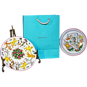 "Vintage 2 Pc Tiffany & Co. Child's Plate & Bowl  in ""Tiffany Playground"" pattern with Tiffany gift bag"